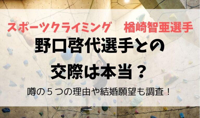 楢崎智亜選手と野口啓代選手の交際の噂は本当?